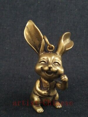 Collection Old art Chinese Copper Carving Lovely Rabbit Statue Pendant Netsuke