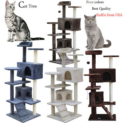 "51"" Cat Tree Furniture Kitten House Play Tower Scratcher Grey Condo Post Bed"