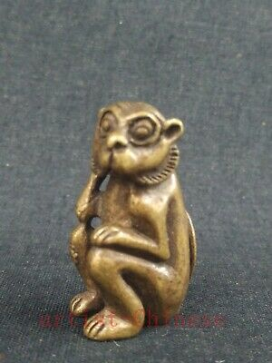 Collection Old art Chinese Copper Carving Lovely Monkey Statue Pendant Netsuke