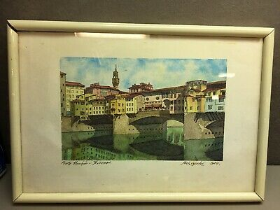 Signed Framed Ink and Watercolor Painting by Yoshiyuki 1984 Ponte Vecchio