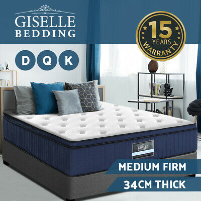 Giselle Bedding Mattress Queen Double King Memory Foam Bed 7 Zone Pocket Spring