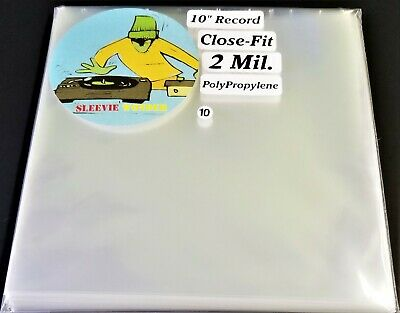 """10 Ten Inch Record Close Fit Outer Sleeves 2mil Plastic No Flap 10"""" 78rpm cover"""