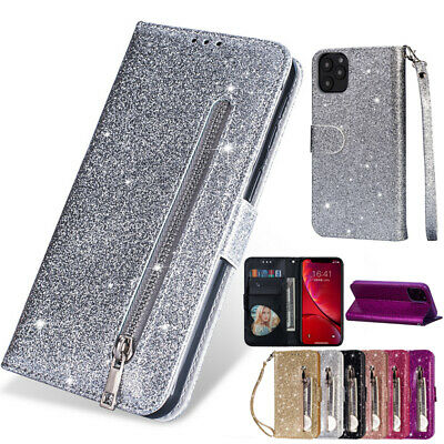 For iPhone 11 Pro XS Max XR Glitter Leather Zipper Card Wallet Flip Case Cover