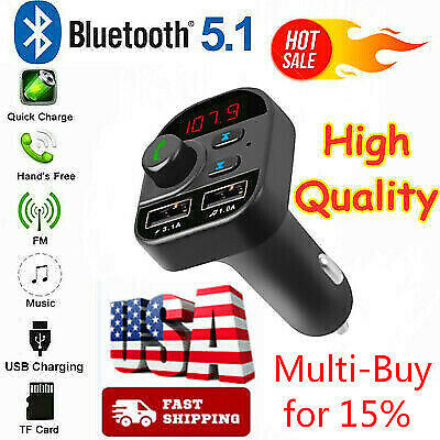 Bluetooth In~Car Wireless FM Transmitter MP3 Radio Adapter Car Kit 2 USB Charger