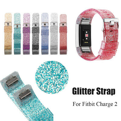 WatchBand Bling Watch Strap Glitter Bracelet Replacement For Fitbit Charge 2