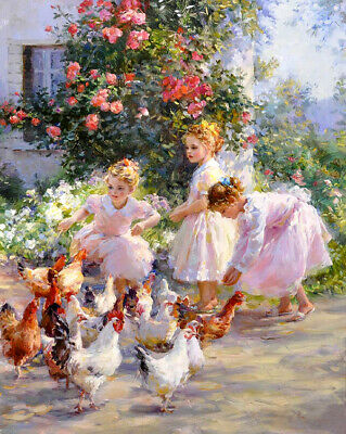 Three country little girls Oil Painting Giclee HD Printed on canvas L2466