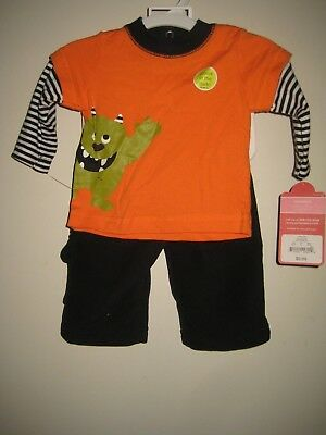 Boys CARTER'S HALLOWEEN Glow In the Dark Monster 2PC Outfit Size 3 Months NEW