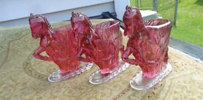 """3 Small Horse Planter  Purple  / Red Glass  4x1.5x5""""  Vintage  Very Clean"""
