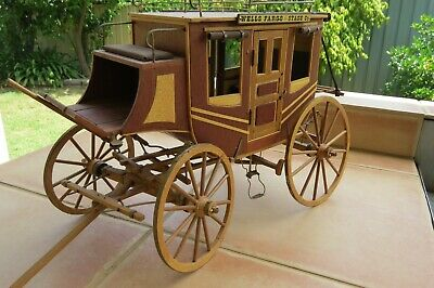 Wooden and Brass Stage Coach stagecoach horse wagon