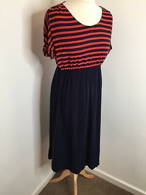 Blooming Marvellous Maternity Dress 12 Mothercare Blue Red Stripe Midi Nautical
