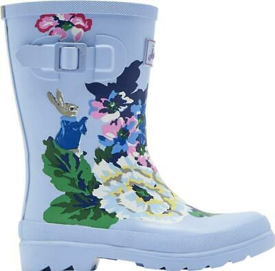 Joules WELLY PRINT Girls Rain Snow Comfy Rubber Wellies Light Blue Rabbit Floral