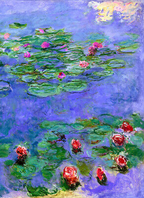 "CLAUDE MONET ~ Water lilies red #2 ~ CANVAS ART PRINT Poster ~ 16""X 12"""