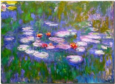 "CLAUDE MONET ~ Water Lilies red ~CANVAS ART PRINT Poster ~ 16""X 12"""