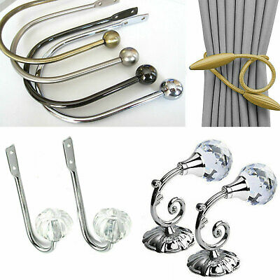2x Metal Retro Curtain Holdback Wall Tie Back Hooks Hanger Holders Decors Hook