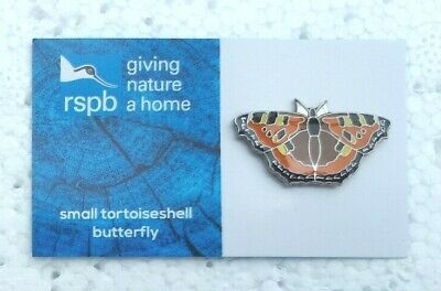 RSPB SMALL TORTOISESHELL BUTTERFLY charity pin badge GNAH BRAND NEW DESIGN CARD