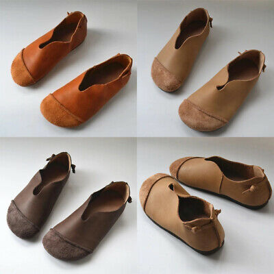 Womens PU Leather Flat Sandals Ladies Round Toe Holiday Slip On Loafers Shoes