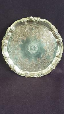 Antique Mid-C19th Real Sheffield Plate Silver Armorial Salver/Small Drinks Tray
