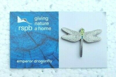 RSPB EMPEROR DRAGONFLY charity pin badge COMBINE P+P GNAH BRAND NEW DESIGN CARD