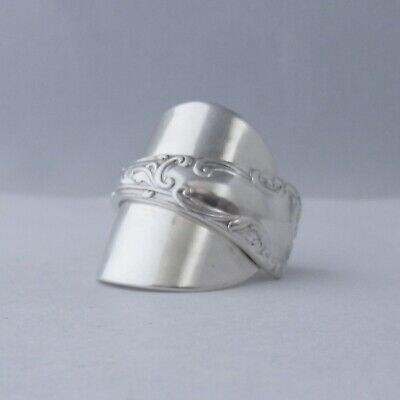 Sterling Silver Spoon Ring Art Nouveau Handmade Antique 925 Hallmark 1907