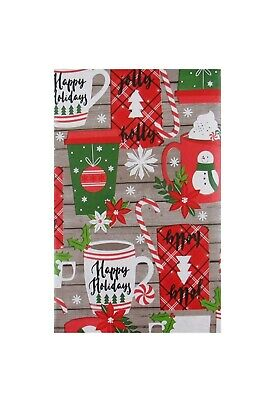 """Holidays Sweet Treats Vinyl Tablecloth 60"""" Round Christmas Flannel Backed"""