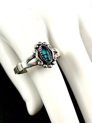 Striking Signed Wheeler Manufacturing Sterling Silver Paua Shell Accent Ring