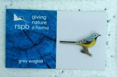 RSPB GREY WAGTAIL charity pin badge GNAH BRAND NEW DESIGN CARD