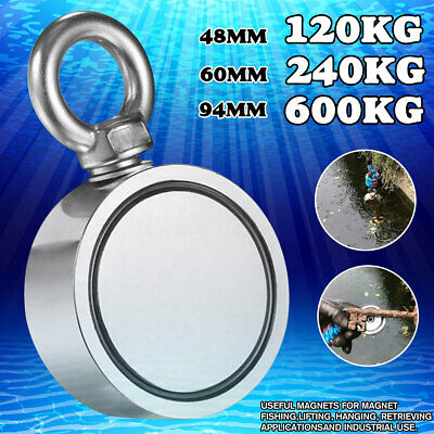 Round Double Sided Super Strong Neodymium Fishing Magnet 600LB Pulling Force