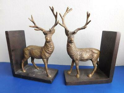 Quality Vintage Brass & Bronzed Deer Stag Bookends 1900s