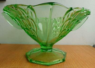 Excellent Art Deco Uranium Green Depression Glass Conical Footed Bowl