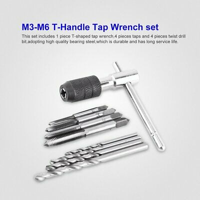9Pcs/set M3-M6 T-Handle Screw Thread Taps Reamer Wrench with Twist Drill Bits WP