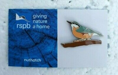 RSPB NUTHATCH charity pin badge GNAH BRAND NEW DESIGN CARD