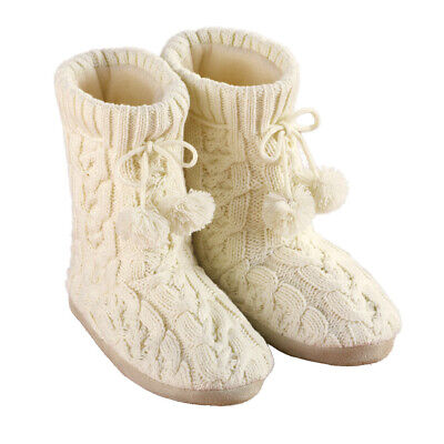 Cable Knit Slippers with Pom Poms, Comfortable Booties for Women