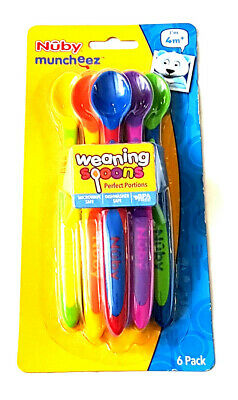 Nuby 6 Pk Multi-Coloured Weaning Spoons 4 Mths + Bpa Free New