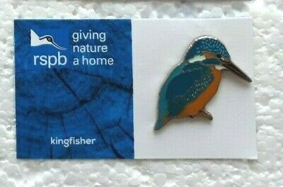RSPB KINGFISHER SAT charity pin badge GNAH BRAND NEW DESIGN CARD
