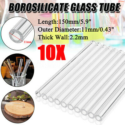 10X 150mm OD 11mm 2.2mm Thick Wall Borosilicate Glass Tubing Blowing Tube