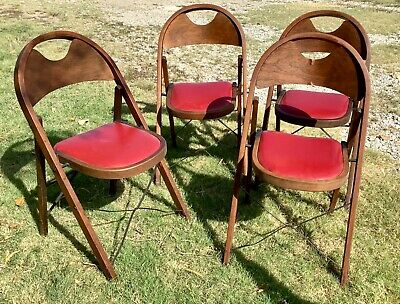 Mid Century Vintage Wood Folding Chairs Red Padded Vinyl Seats Set of 4
