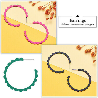 Multi Color Semi-Circle Lace Embellished Ear Stud Womens Earrings Jewelry Gifts