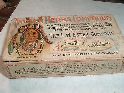 Quack Patent Medicine  Estes Indian Herbs Compound Box Washington, DC c1910s