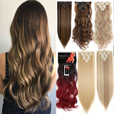 Real Long Hair Extensions Natural 8PCS Full Head Clip In Curly Wavy feels human