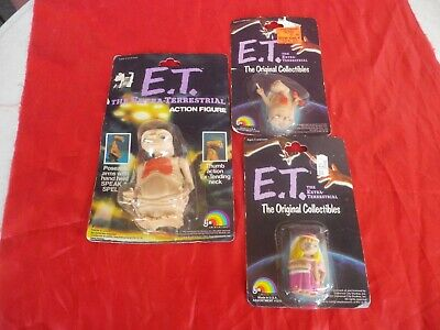 E.t. The Extra Terrestrial  3 Actions Figures Rare 1982 L J N  Usa  Mint In Card