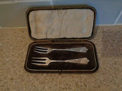 Beautiful Antique/Vtg Silver Plate Miniature Forks In Original Case