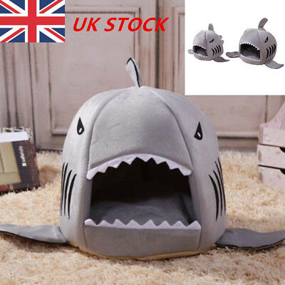 Pet Cat Winter Warm Dog Bed Shark Mouth House Portable Outdoor Puppy Kennel UK