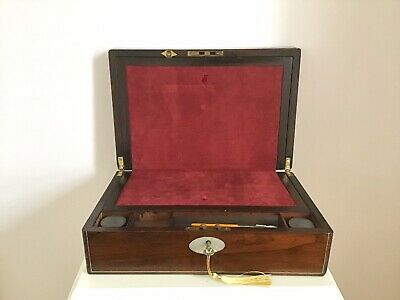 A Super Victorian 1880 Figured Rosewood Writing Slope With M.o.p & String Inlay