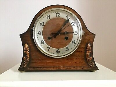 Really Nice Oak Art Deco Mantle Clock (Quartz Converted So Keeps Perfect Time )