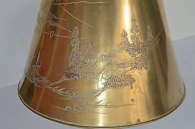 Gorgeous Antique/vintage Chinese Bronze Lamp Shade Engraved Landscape Scene