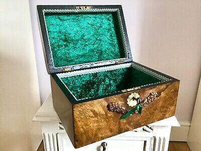 Lovely Victorian Burr Walnut Box Fab Interior Ideal Jewellery +Sewing +Documents