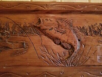 Hand Carved Wood Fishing Wall Hanging / Solid Piece / Extremely Detailed!!