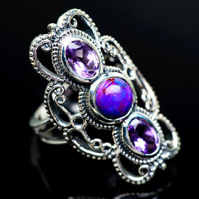 Purple Copper Turquoise, Amethyst Silver Ring Size 7.25 Jewelry R961642