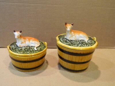 2  Sizes Secla Portugal Majolica Covered Butter Dish w/ Cow on Top Vintage