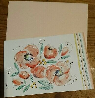 STATIONERY - BLANK NOTE CARDS & ENVELOPES x10 - Flowers - LOOK!